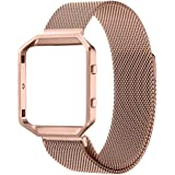 Fitbit Blaze Accessory Band,Small (5.5-6.7 in),Oitom Frame Housing+Milanese loop Stailess Steel Band for Fitbit Blaze Smart Fitness Rose Gold