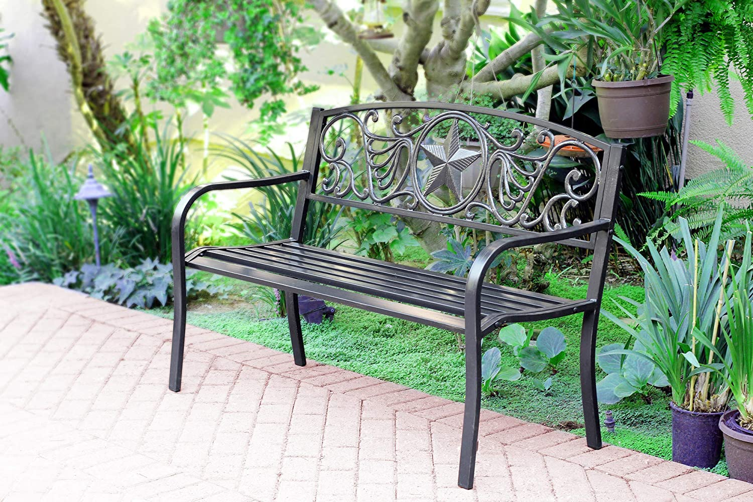 Jeco PB005 50 L Star Curved Back Steel Park Bench, 50.39 L x 23.03 W x 35.03 H, Black