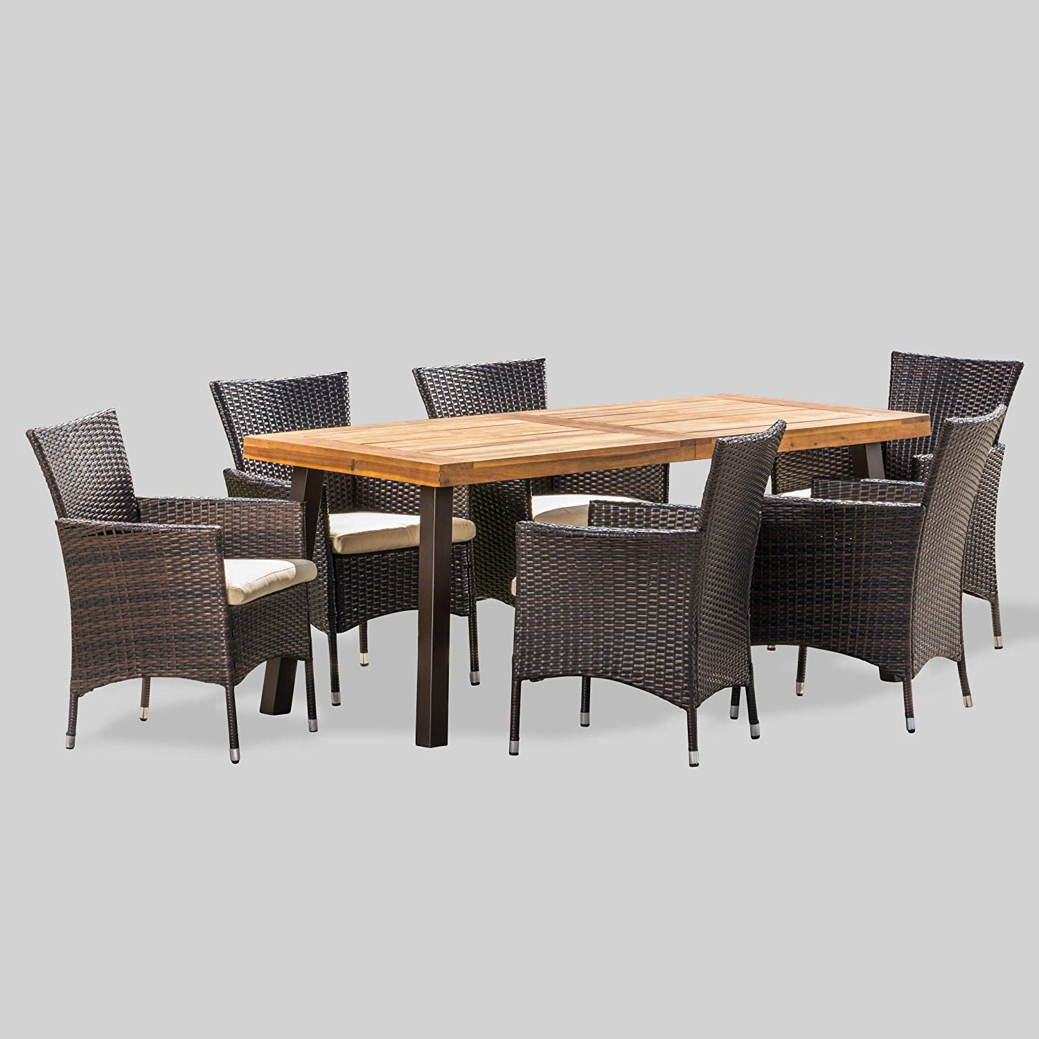 Amazon Com Christopher Knight Home Randy Outdoor 7 Piece Acacia Wood And Wicker Dining Set With Cushions Teak Finish In Multibrown Beige Rustic Metal Garden Outdoor
