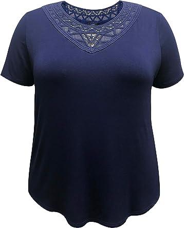 LEEBE Mujer Talla Grande - Camisa de Manga Corta con Escote de Crochet (1XL- 5XL): Amazon.es: Ropa y accesorios