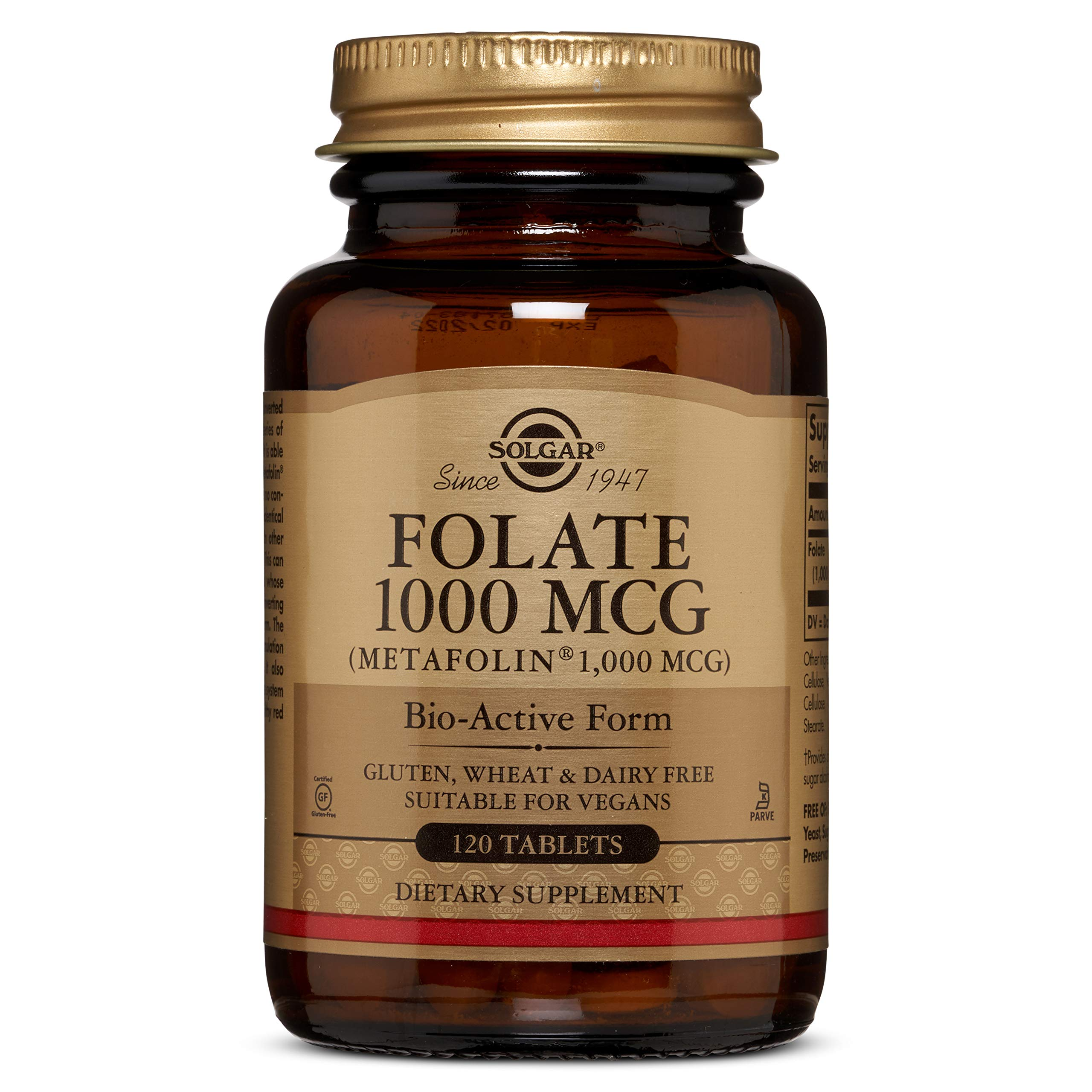 Folate 1000 MCG (Metafolin® 1,000 MCG) Tablets - 120 Count - 2 Pack