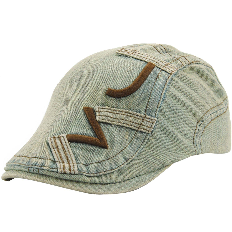 FULIER Unisex Beret Newsboy Cap Denim Embroidery Shade Casual Forward Hat