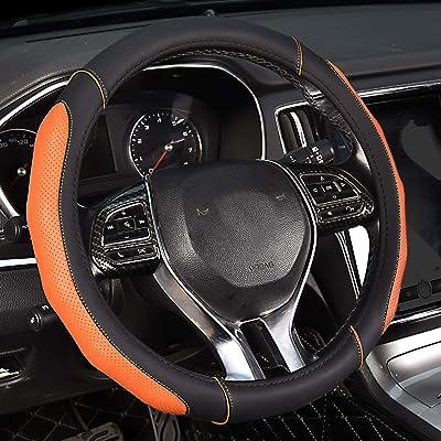 AOYMEI Leather Steering Wheel Cover Microfiber Anti-Slip Breathable Odorless Universal 15 inch Automotive Interior Accessories (Style 1, Orange): Automotive
