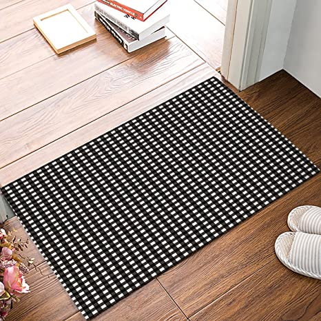 Indoor Doormat Stylish Welcome Mat White Black Buffalo Check Plaid Entrance  Shoe Scrap Washable Apartment Office