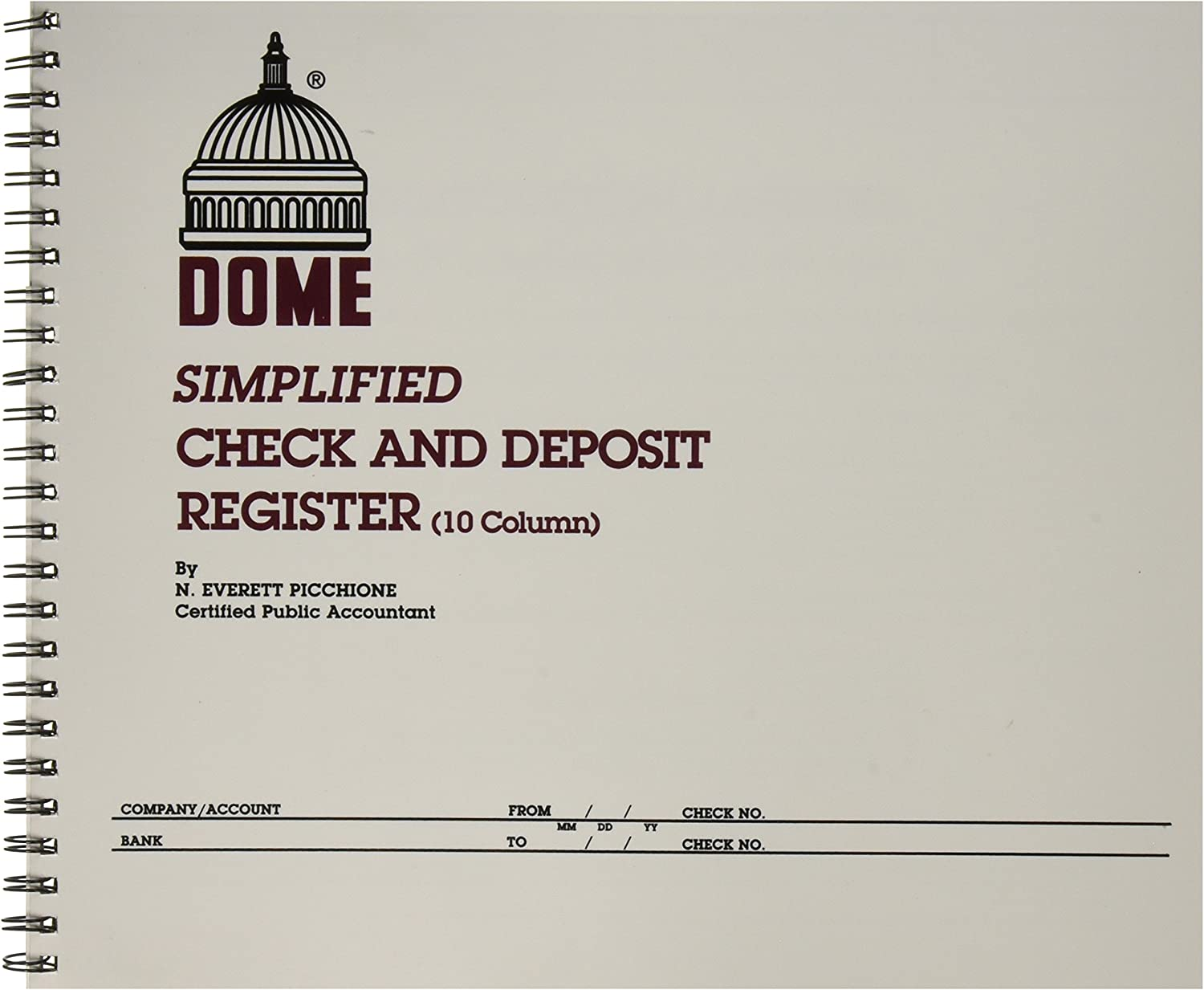 Dome Publishing Co Inc Check/Deposit Register, 50 Pages, 10-1/4 x 8-1/2 Inches, Gray (DOM210)