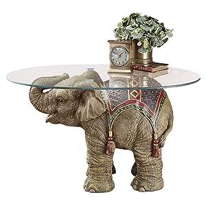 Design Toscano Jaipur Elephant Festival Glass-Topped Cocktail Table