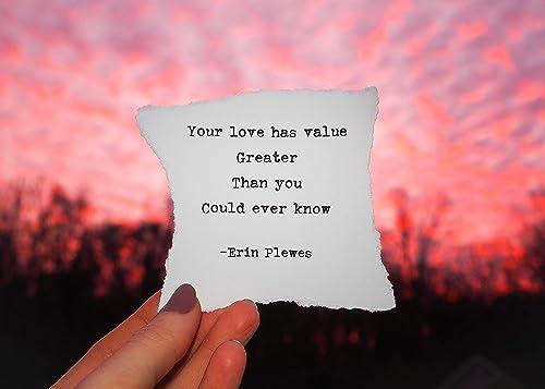 com love has value inspirational poem quote x framed