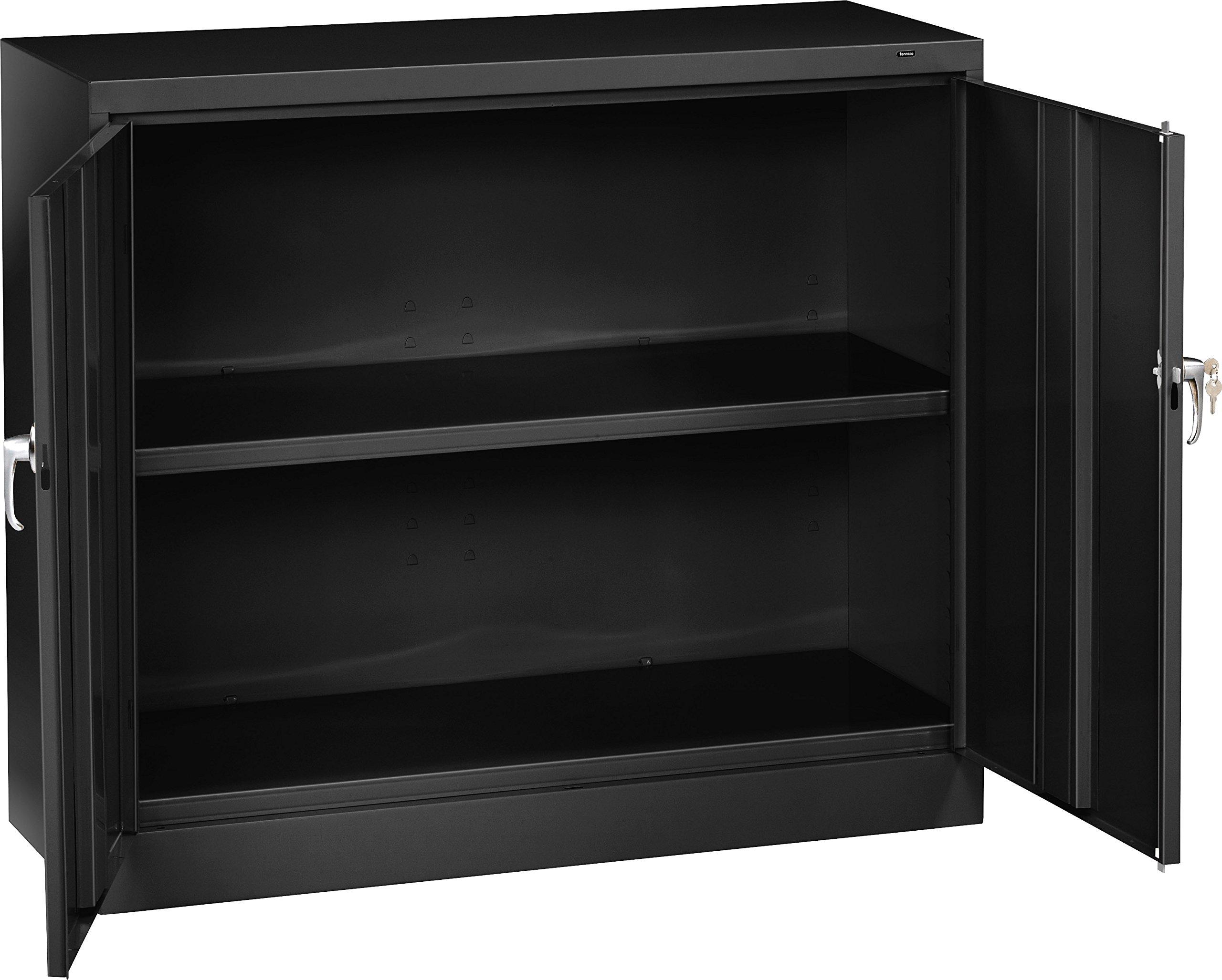 Tennsco J2442SU Heavy Gauge Steel Welded Counter High Jumbo Storage Cabinet, 48'' Width x 42'' Height x 24'' Depth, Black