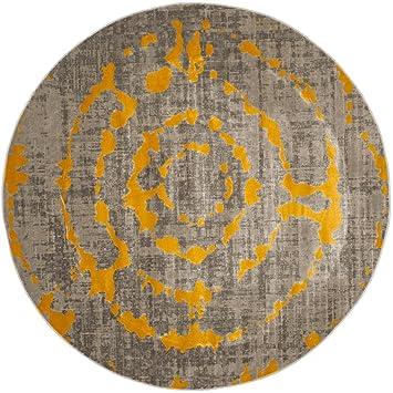 Teppich Rund Webteppich Wohnzimmer Pacific Abstract Grau Gelb 155 X