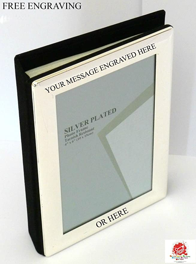 Personalised Engraved Silver Plated Photo Frame and Album: Amazon.co ...