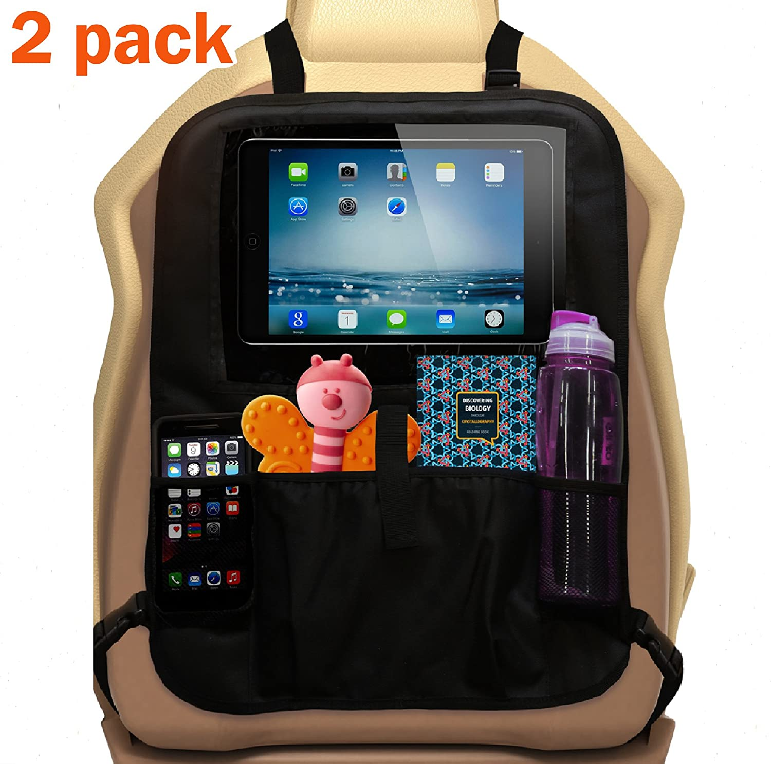 2 Backseat Toy Organizers by Ozziko. Black. XL Kids Kick Mat Protectors for Car Back Seats. 13'' Clear Tablet Holder & Storage Pockets for Bottles & Snacks. Great For Baby Boosters. Fits All Vehicles ipad holder for kids