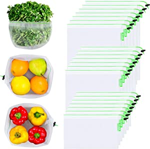 OTAGO 21 Packs Reusable Mesh Produce Bags,Eco-Friendly Washable and See Through with Colorful Drawstring Tare Weight Tags for Shopping,Fruits,Vegetable(3 Sizes-7 Large 7 Medium &7 Small),Green