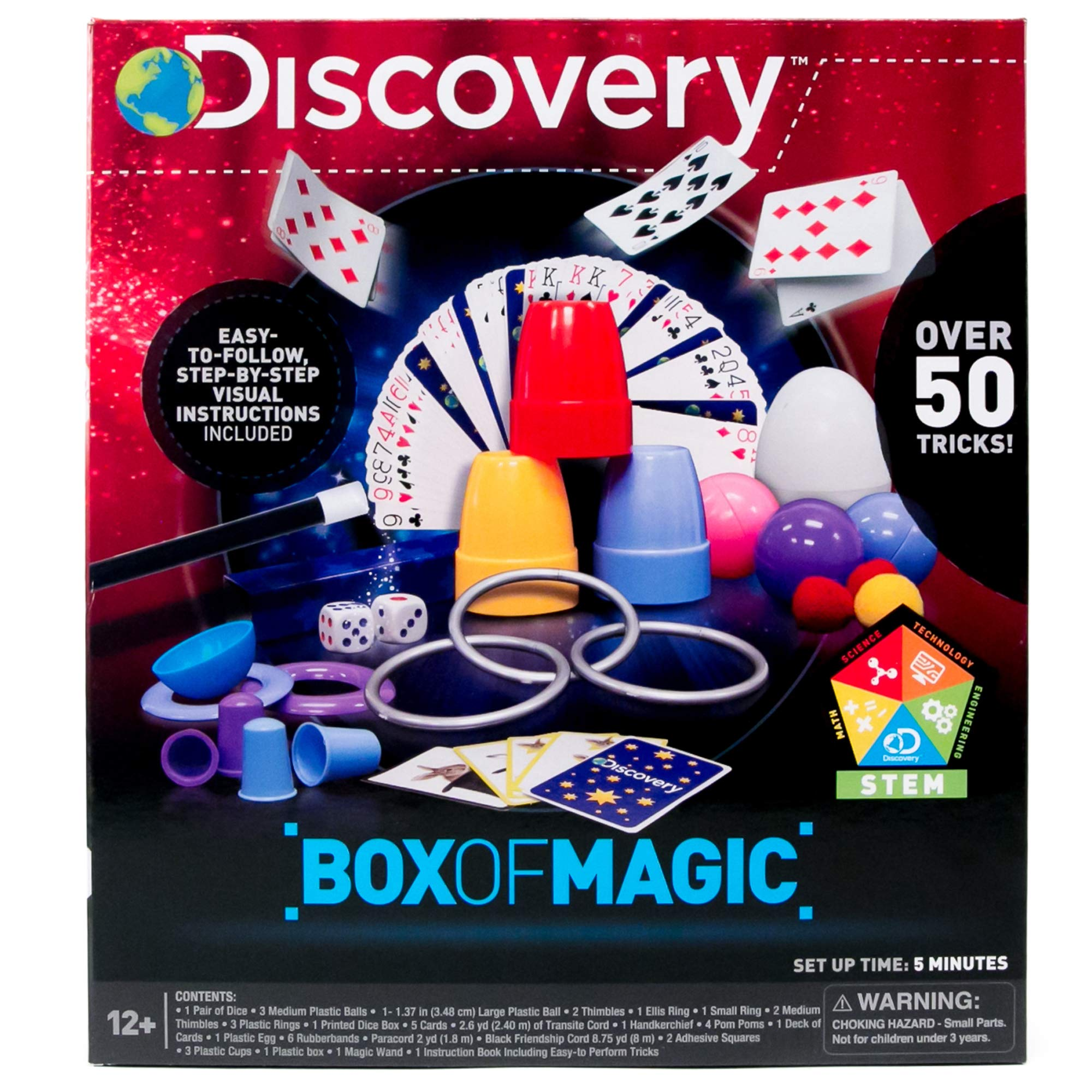 Discovery Box of Magic by Horizon Group USA, Great Stem Science Experiments, Over 50 Magic Tricks & Optical Illusions, Magic Wand & Instructions Included by Discovery