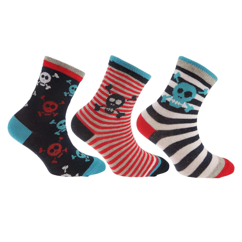Childrens/Boys Cotton Rich Skull/Dinosaur Design Socks (Pack Of 3) Universal Textiles UTK330_5