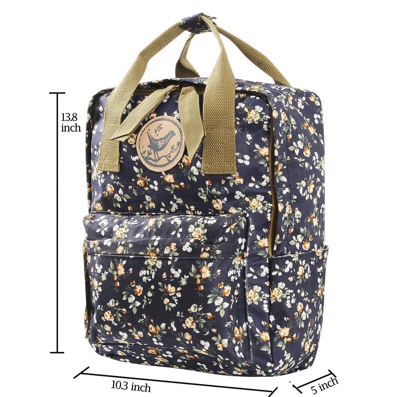 858d9ae361 Micoop Waterproof Floral Backpack Handbag Travel School Bag for Girls and  Women  (Black Blue
