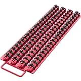 Olsa Tools   Socket Organizer Tray   Red Rails with Black Clips   Holds 80 Pcs Sockets