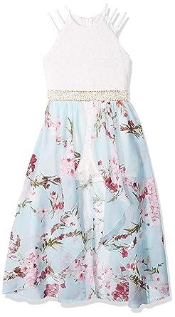 53026dfc15cf Speechless Girls' Big Halter Neck Walk-Through Romper Maxi Dress, Sky Pink 7