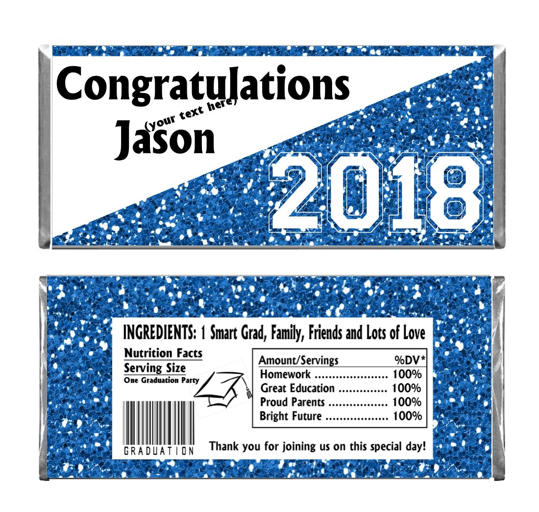 Blue Graduation Glitter Design Party Personalized Custom Chocolate Candy Bar WRAPPERS ONLY Set of 24