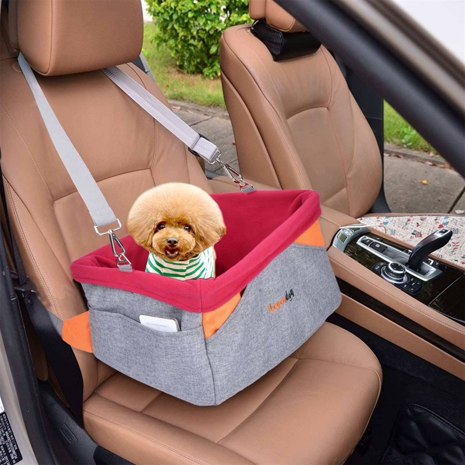 Fascigirl Pet Booster Travel Pet Car Seat Carrier for Dogs /& Cats with Cushion /& Adjustable Strap