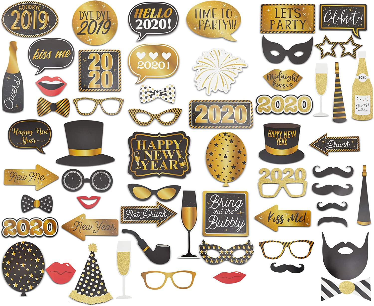 New Years Party Supplies and Decorations DIY Photo Booth Props for Kids and Adults 2020 New Years Photo Booth Props Glitter New Years Eve Photo Booth Props Pack of 26