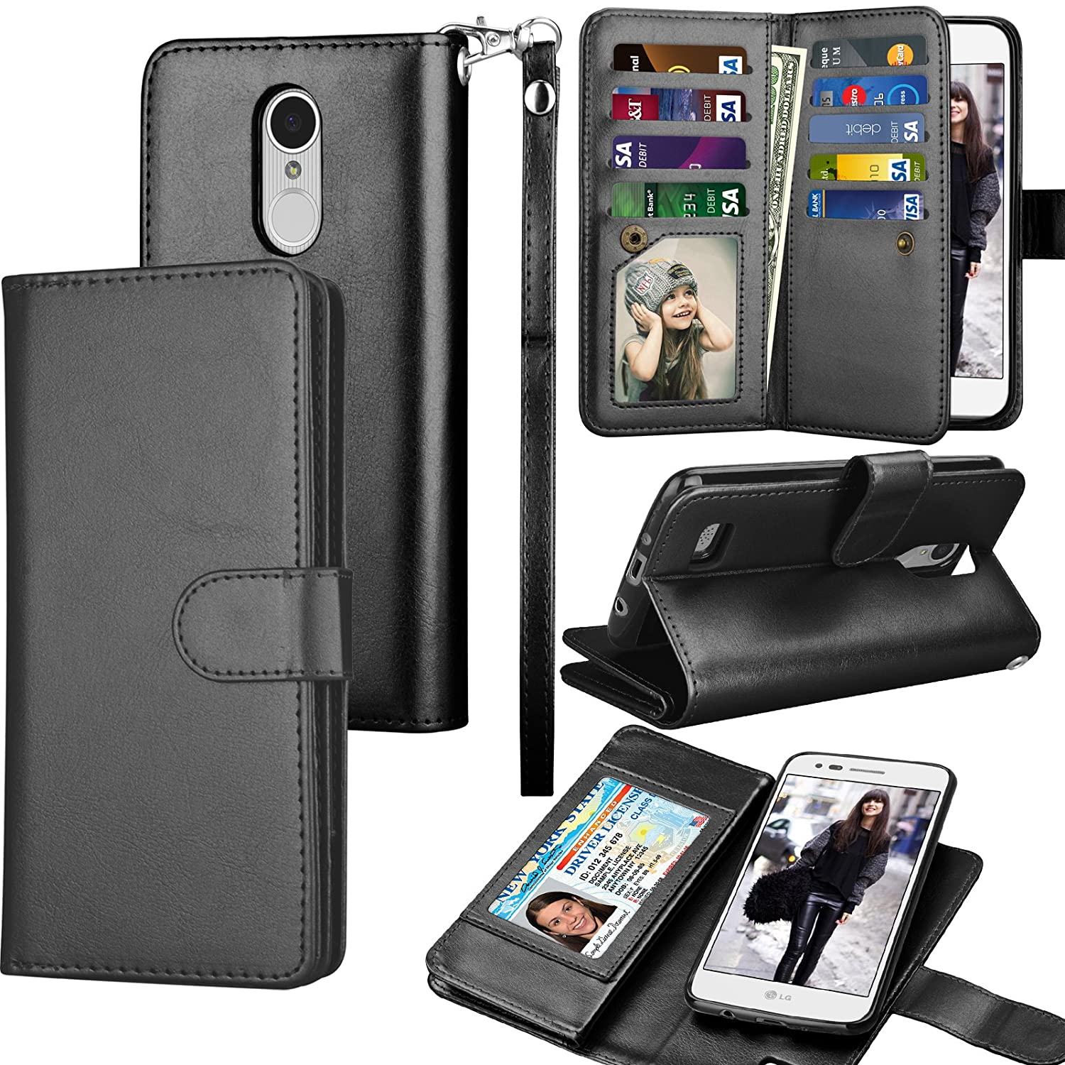 Tekcoo Compatible for LG Fortune/Phoenix 3 / LG Aristo/Risio 2 / LG Rebel 2 LTE / LV3 Wallet Case, Credit Card Slots Carrying PU Leather Folio Flip Cover [Detachable Magnetic Case] Stand -Black