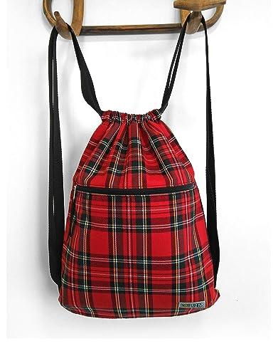 Mochila saco de tela cuadro escocés rojo