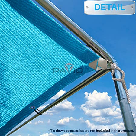 Patio Paradise 11 x15 Heavy Duty Straight Edge Sun Shade Sail,Rectangle 240GSM Shade Canopy Panel Gazebo Pergola Replacement Car Port Awning Customize Available, Turquoise Green