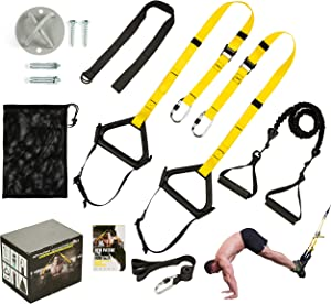 DOHOO Bodyweight Resistance Trainer Kit, Home Gym Strength Training Straps Outdoor Fitness Training Set