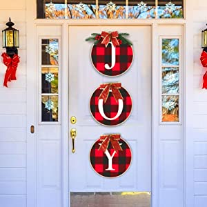 Christmas Joy Sign Hanging Decorations- Hangable Buffalo Check Plaid Wreath Rustic Burlap Wooden Xmas Holiday Decorations Party Favors for Home Front Door Window Wall Farmhouse Indoor Outdoor Decors