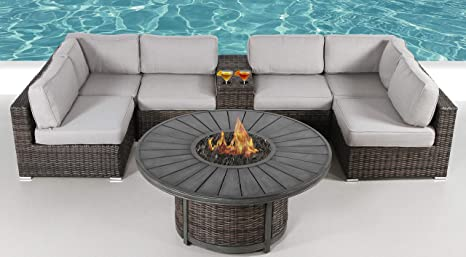 Amazon Com Fire Pit Furniture Set Living Source Rattan Wicker Outdoor Patio Furniture With Firepit Table For Garden Pool And Patio Fully Assembled Cm 4268 8 Pc Resort Grade Fire Pit Set