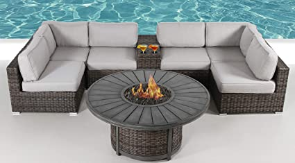 Amazon Com Fire Pit Furniture Set Living Source Rattan Wicker