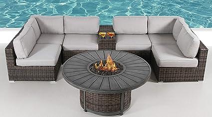 Enjoyable Amazon Com Fire Pit Furniture Set Living Source Rattan Home Interior And Landscaping Ymoonbapapsignezvosmurscom