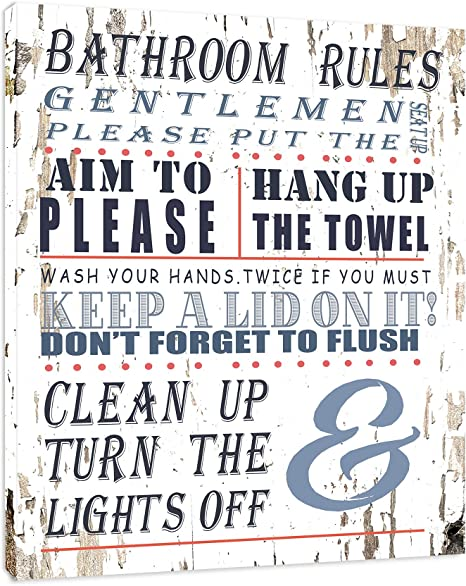 Amazon Com Bathroom Rules Bathroom Sign Framed Canvas Print Home Decor Wall Art Gallery Wrap Inner Frame White 14x18 Posters Prints
