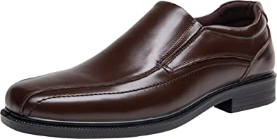 bf4ac04fd8e2 JOUSEN Men's Dress Shoes Square Toe Leather Shoes Lined Slip On Loafer
