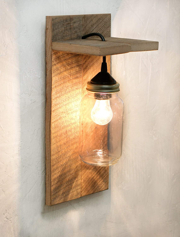 Amazon Com Barn Wood And Mason Jar Light Fixture Wall