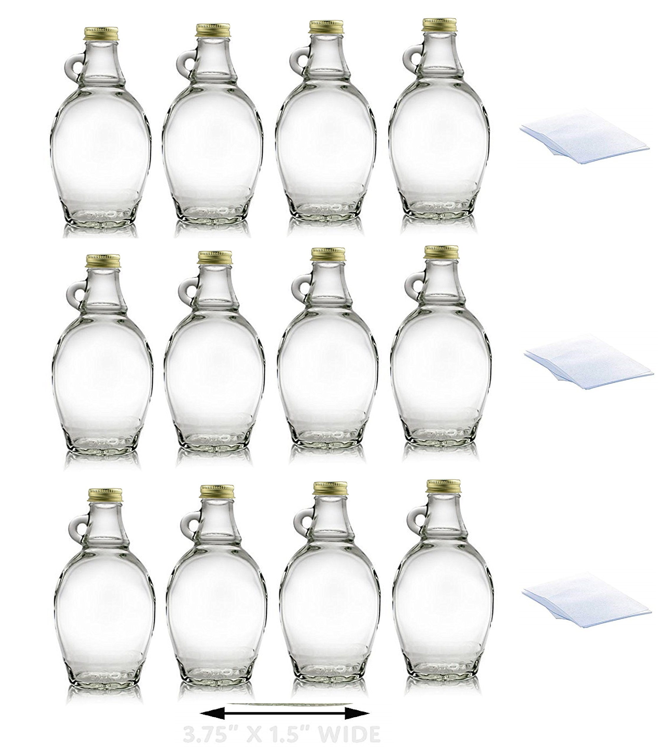 Premium Vials, 8 Ounce, 12 Pack, Empty Glass Syrup Bottles For Canning, with Metal Lids, Glass Maple Syrup Bottles (12 Pack with Shrink Wrap) by PREMIUM VIALS CREATIVE PACKAGING SOLUTIONS