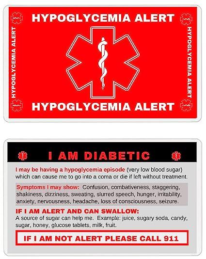 Tarjeta de emergencia con billetera de hipoglucemia (DNR-101 ...