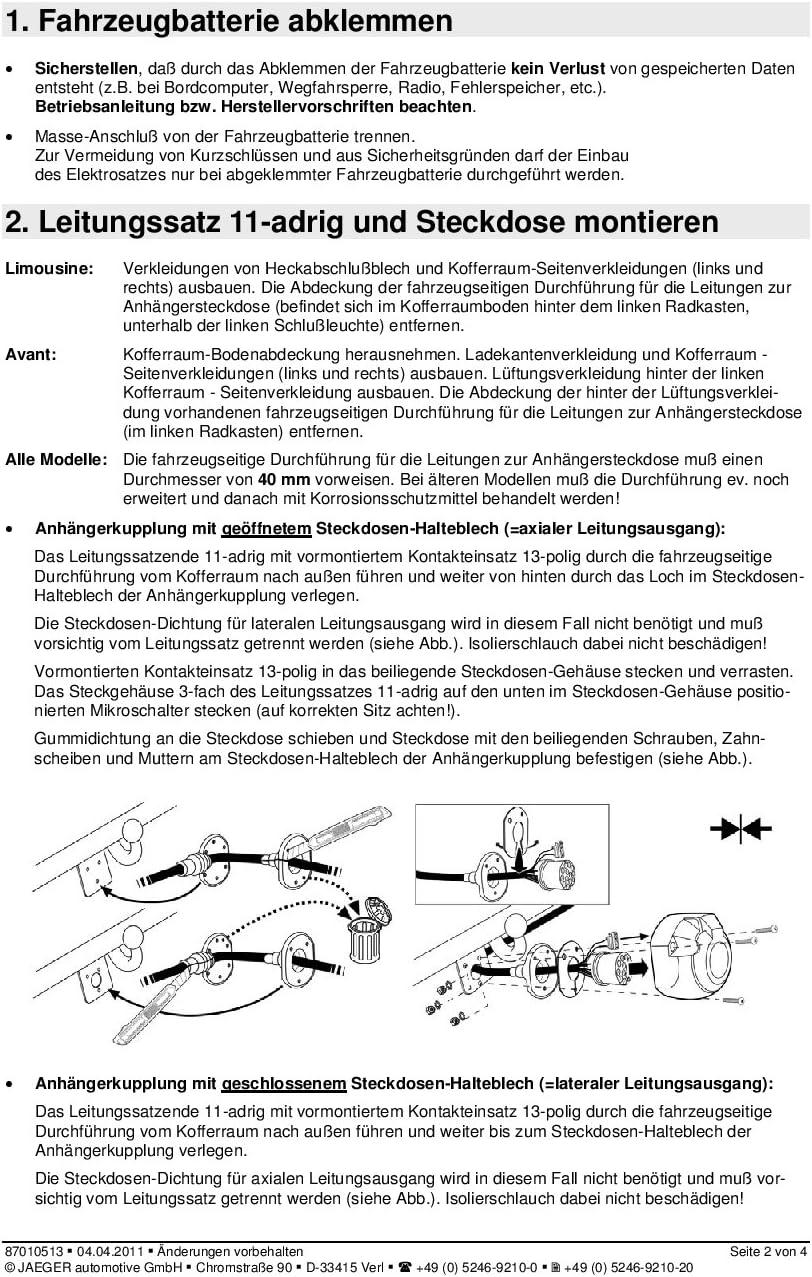 JAEGER automotive 21010502 fahrzeugspezifischer 13-poliger Elektrosatz