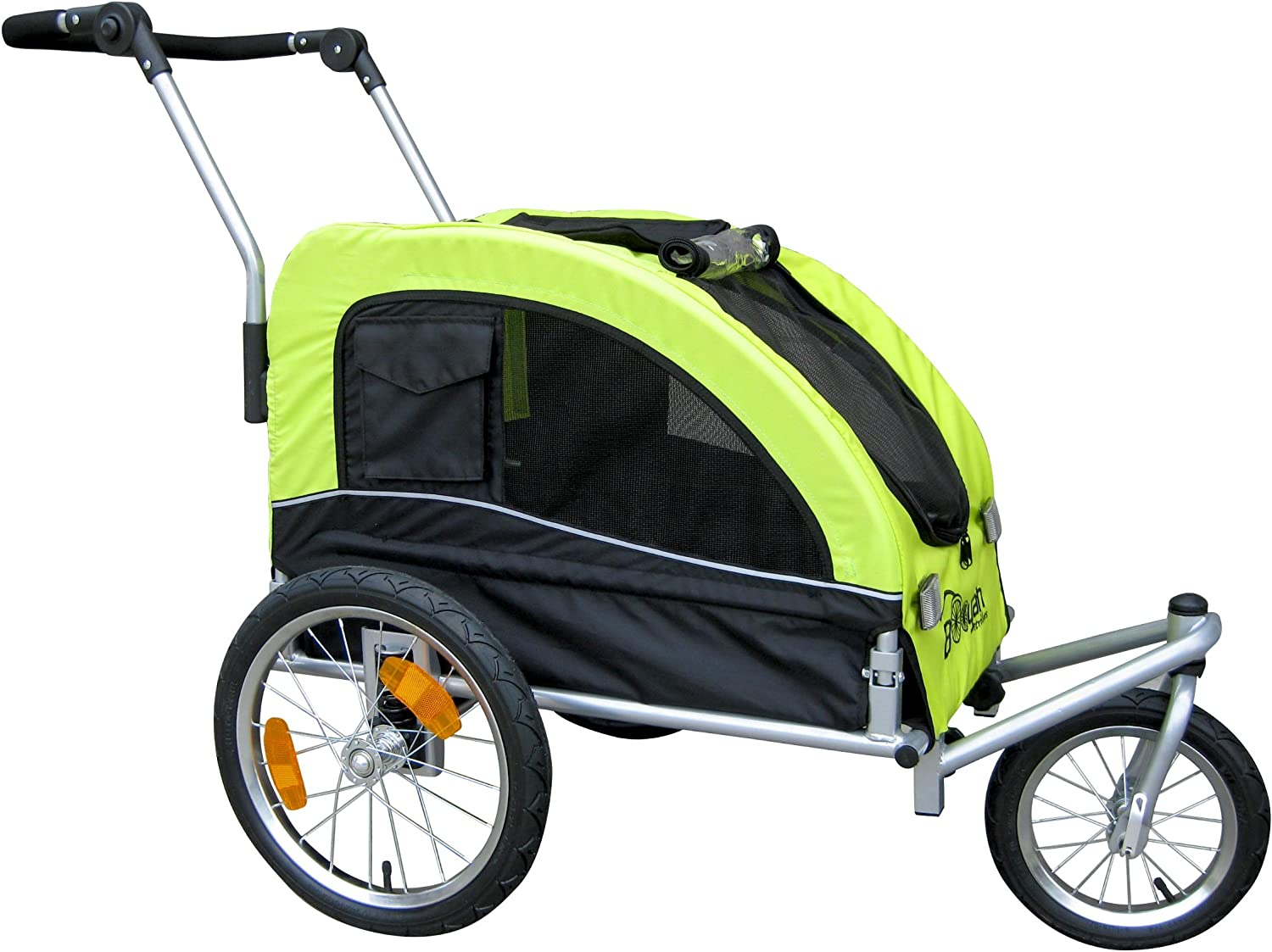 Booyah Medium Dog Stroller Pet Bike Trailer and with Suspension – Florescent Green