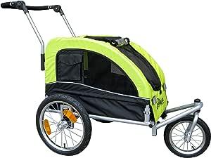 Booyah Medium Dog Stroller & Pet Bike Trailer and with Suspension - Florescent Green
