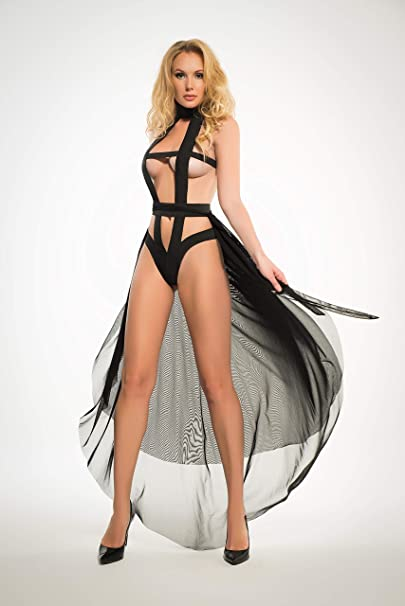 e059d43bb5 Allure Lingerie Adore A1015 Womens Edgy Teddy and Sheer Skirt Black M   Amazon.ca  Clothing   Accessories