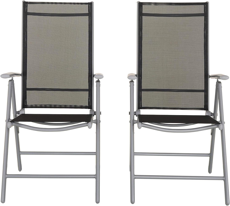 Grigio 67 x 59 x 113 cm Chicreat C248.3 Sedia Pieghevole Regolabile in 8 Posizioni in Alluminio