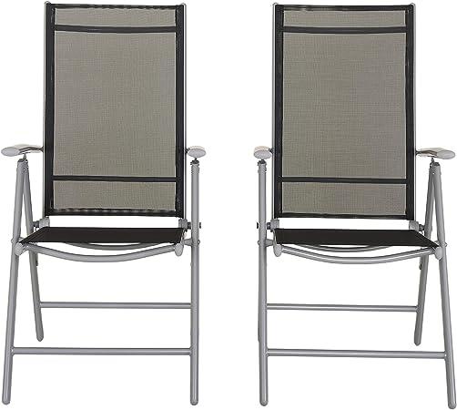 Chicreat Klappsessel aus Aluminium, hohe Rückenlehne, 7 fach verstellbar, Textilene 4x4 (2 St.)
