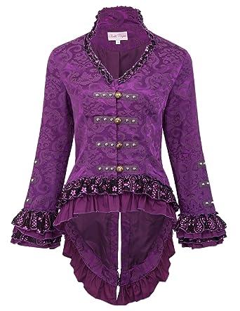 f803d1a70a75 Belle Poque Manteau de Fête Femme Violet avec Manche Longue Col V S BP562-3