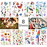 Lady Up 8 Sheets Sexy Flowers Roses Butterflies Waterproof Multi-Colored Mixed Style Fake Temporary Tattoos Stickers for…