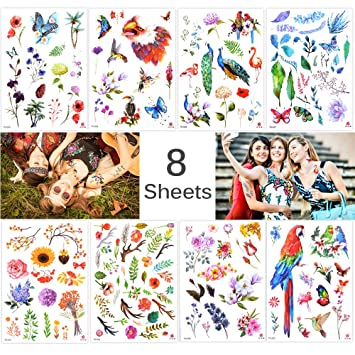 Amazon.com: Lady Up 8 Sheets Flower Temporary Tattoos Stickers for ...