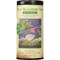 The Republic of Tea Decaf Blackberry Sage Black Tea, Tin of 50 Tea Bags