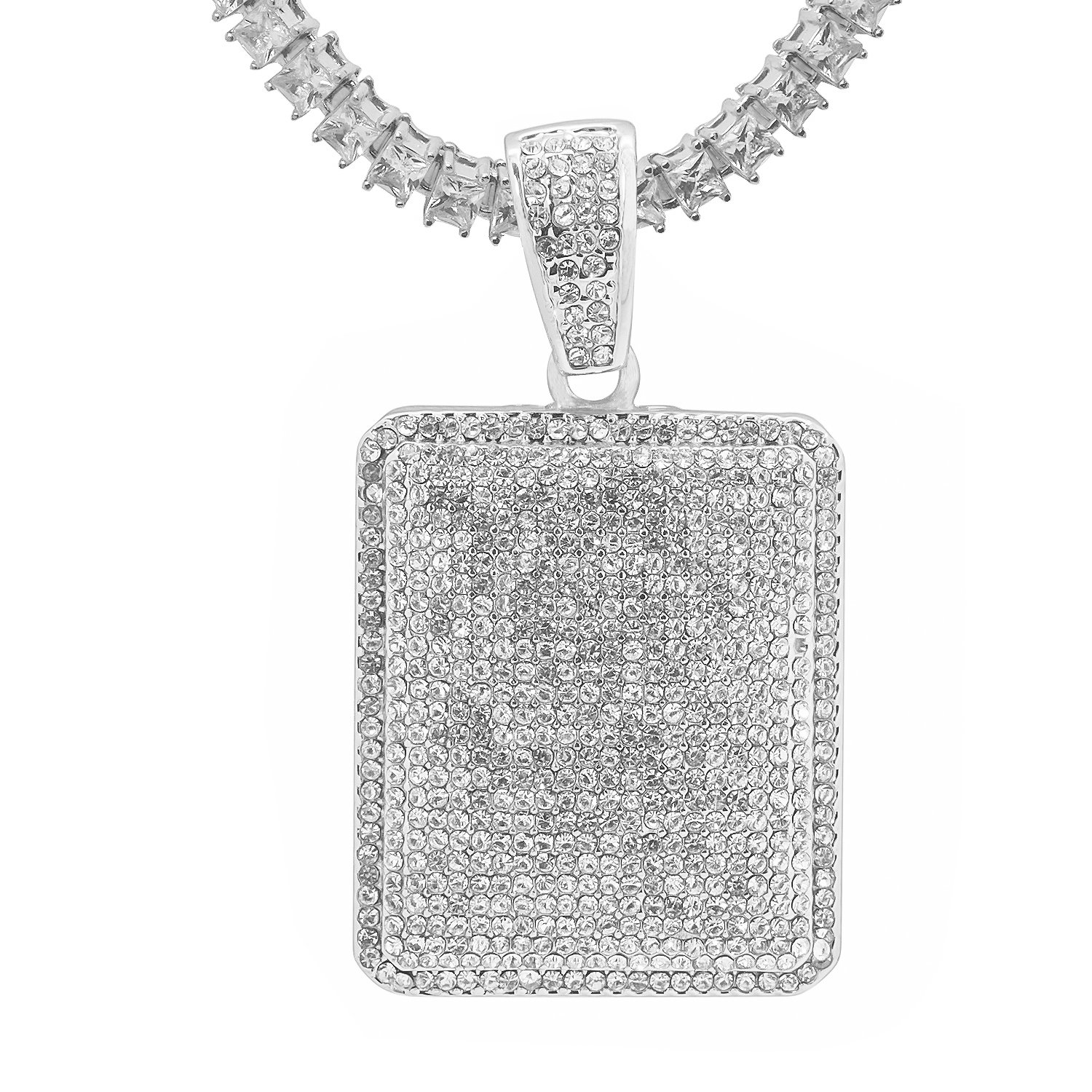 White Gold-Tone Iced Out Hip Hop Bling Rectangle Dog Tag Pendant 1 Row Square Cubic Zirconia Princess Cut Stones Tennis Chain 18 Necklace Choker Chain