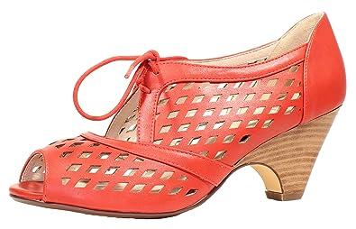 31a77c97b2 Amazon.com   Chelsea Crew JoJo Peep-Toe Lace up Heel - Vintage Mid Heel  Pump w Cut Outs   Heeled Sandals