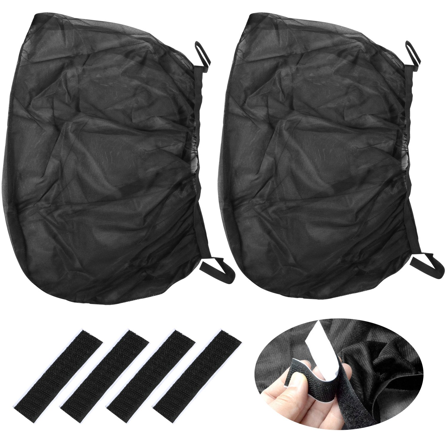 TRIXES 2PC Black Nylon Mesh Exterior Car Window Covers for Sun Shade Filter and Insect Netting